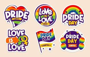Pride Day Sticker Collection vector