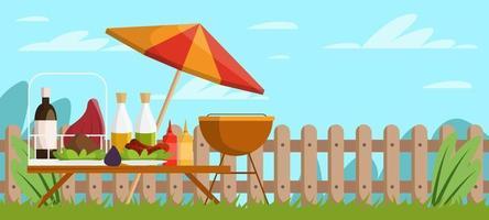 picnic barbacoa fondo vector
