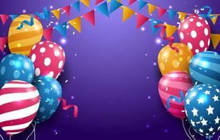 cumpleaños con fondo de globo colorido realista vector