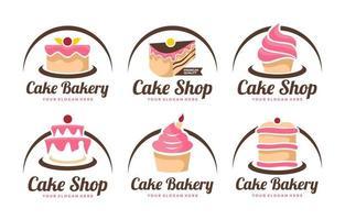 colección de plantillas de logotipo de pastel vector