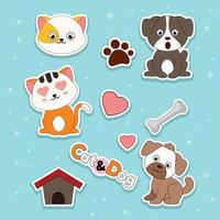 Dog And Cat Stickers vector