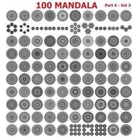 100 Mandala tattoo collections. Vector flowers pattern design.