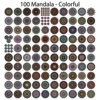 100 various mandala collections. Mandala art design Vector. Inspiring tattoo designs vector
