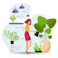 Beautiful Women Watering Plants Illustration vector