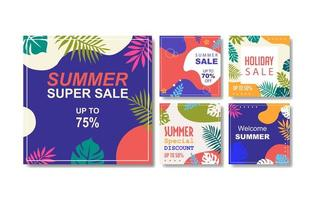 Summer Social Media Post Set Design vector