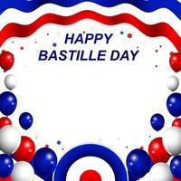 Happy Bastille Day With Balloons Background vector