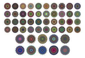 50 various mandala collections. Mandala art design Vector. Inspiring tattoo designs colorful vector