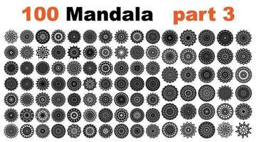 various mandala collections - 100. Ethnic Mandala ornament. Round pattern set.Templates with doodle tribal mandalas. illustration line art ornate brochure. vector