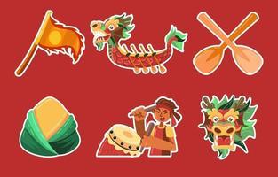 linda etiqueta engomada del festival del barco del dragón vector