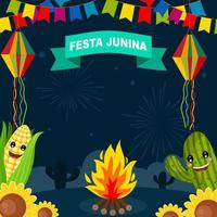 Festa Junina With Night Background vector