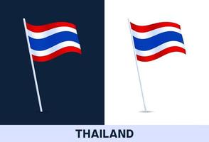 thailand vector flag. Waving national flag of Italy isolated on white and dark background. Official colors and proportion of flag. Vector illustration.