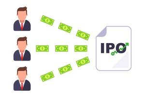 invest in a business that went into an Ipo flat vector illustration