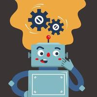 the robot ponders the solution to the problem the thinking process of the machine flat vector character