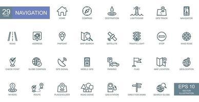Navigation, location, GPS elements - thin line web icons set. Vector