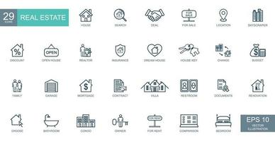 Large conceptual set of 29 pieces of icons on the topic of real estate - Vector
