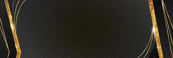 fondo de banner elegante negro y dorado vector