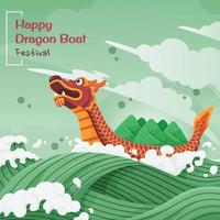 feliz festival del barco del dragón vector