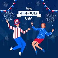 Celebrating The American Independence Day With Fireworks vector