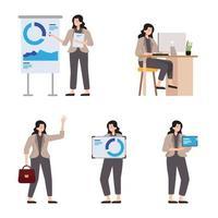 personaje de mujer de negocios con diferentes poses. vector