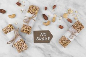 Sugar free snack bars top view photo