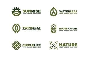 Outline Minimalist Natural Logo Design Collection with vector