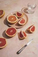 Delicious grapefruit arrangement high angle photo