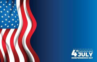 Fourth July Independence Day with American Flag Border Background vector