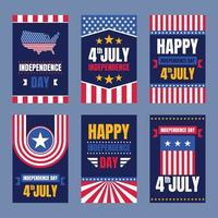 4th July Independence Day Card vector
