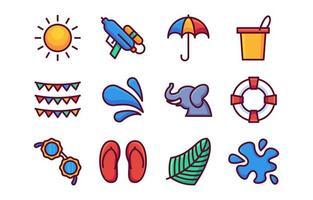 Songkran Water Festival Icons vector