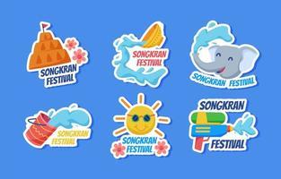 Songkran Festival Sticker vector