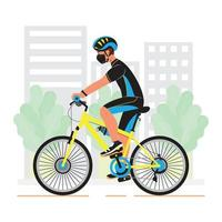 un hombre en bicicleta vector