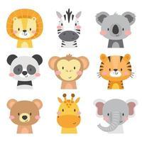 lindo conjunto de iconos de animales vector