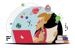 Online learning activity illustration vector