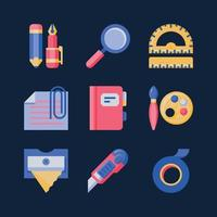 Stationery colourful flat icon vector