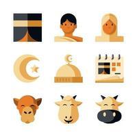colección de iconos de ied al adha vector