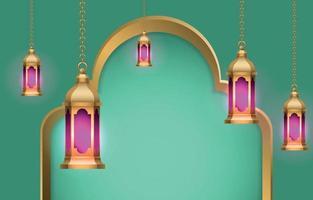 Islamic lantern background vector