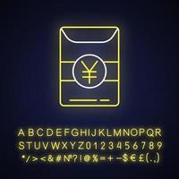 icono de luz de neón de hong bao vector