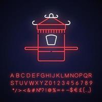 icono de luz de neón de la silla sedán chino vector