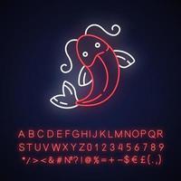 icono de luz de neón de pez koi vector