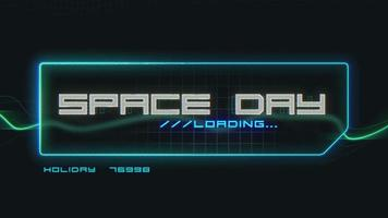 Animation of Space Day Text on Neon Futuristic Screen, Abstract Background. video