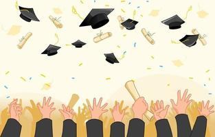 Graduation Throwing Hat Background vector
