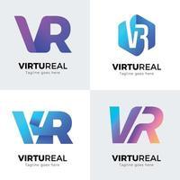 concepto de logo de realidad virtual vector