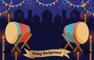 Ramadan Background With Bedug vector