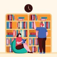 dos personas interactuando en la biblioteca de la escuela. vector