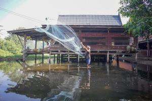 Ratchaburi, Tailandia - 25 de noviembre de 2018 - estilo de vida del pueblo tailandés en una zona urbana. un hombre pescando con una red de nailon en un estanque poco profundo. el memorial del rey rama ix foto