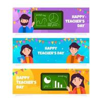 Cute Teacher's Day Banner Collection vector