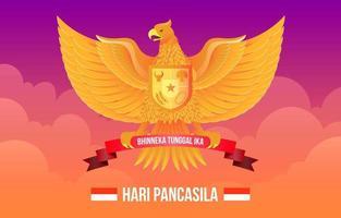 Hari Pancasila with Golden Garuda vector