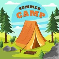 campamento de verano de montaña vector
