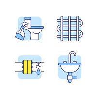 Conjunto de iconos de colores rgb de fontanería vector