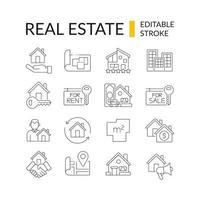 Real estate linear icons set vector